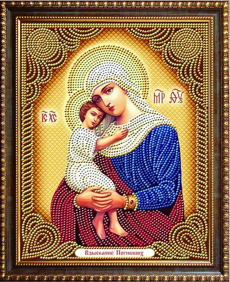 Алмазная мозаика частичная 27x33 Икона Иисуса и Богоматери